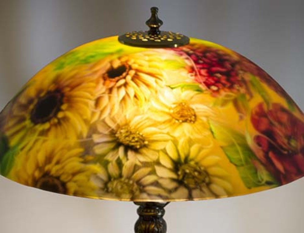 Commissioned 17″ reverse painted table lamp by Jenny Floravita