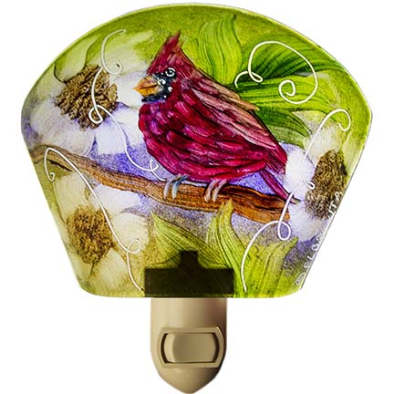 Hand painted glass bird night light by artist Jenny Floravita