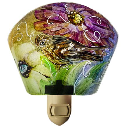 Hand painted glass night light with birds by artist Jenny Floravita