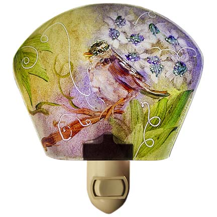 Hand painted glass night light by artist Jenny Floravita