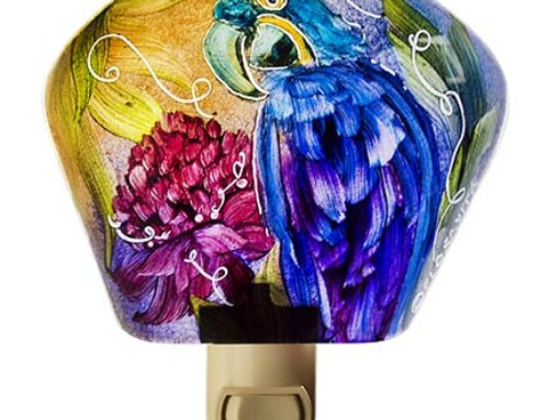 Blue Parrot Night Light tropical flower Birds of our World 16