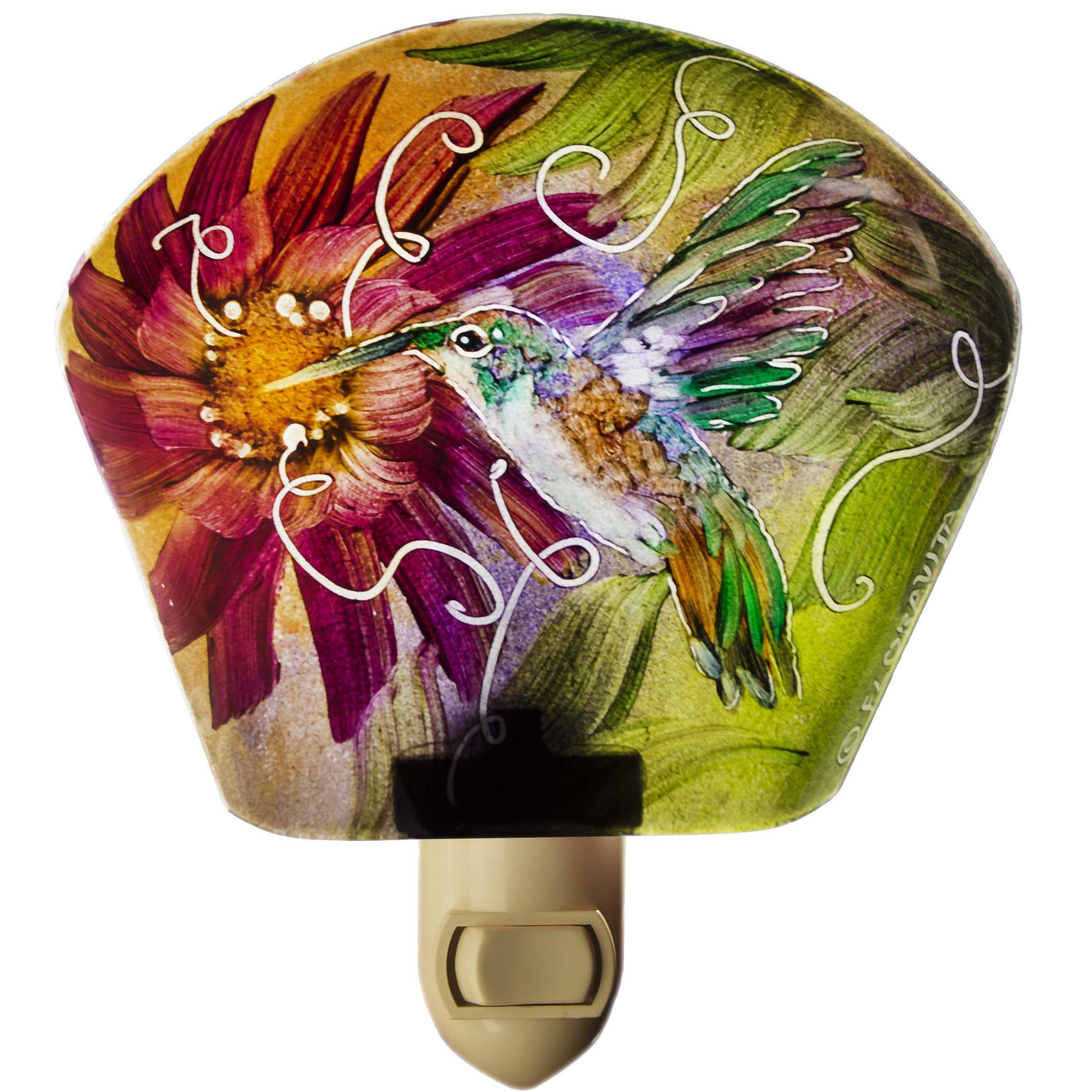 Reverse painted glass hummingbird night light by Jenny Floravita
