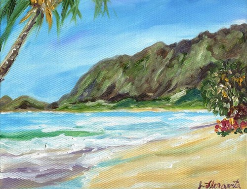 Waimanalo Bay oil painting commission SOLD