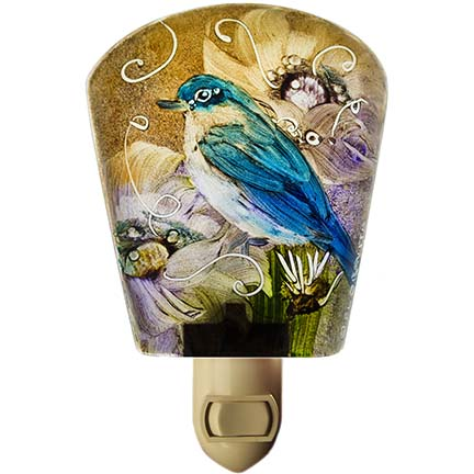 Reverse painted glass bird night light by artist Jenny Floravita