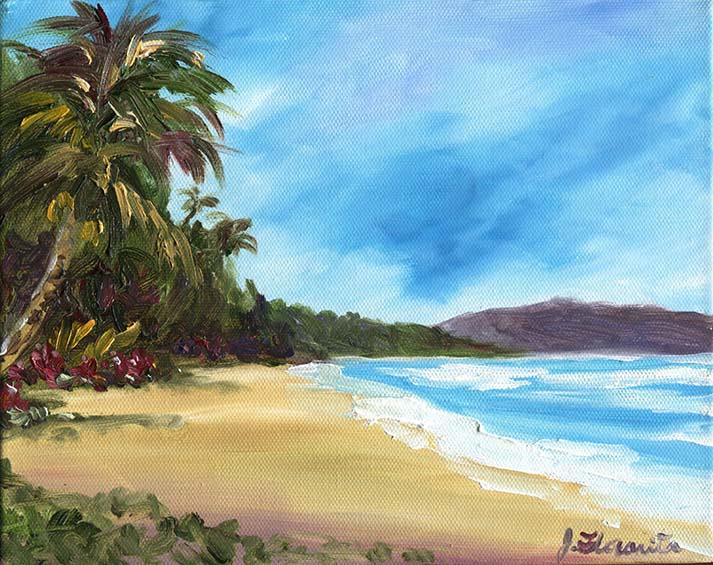 Waimanalo Beach painting 3 Floravita Reverse Hand
