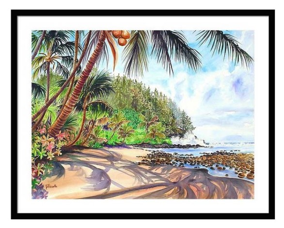 framed Hawaiian Island prints