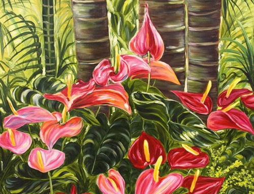Anthurium Celebration tropical flower oil painting