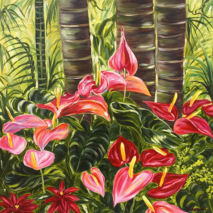 Tropical Red & Pink Anthurium Jungle - Floravita Reverse ...