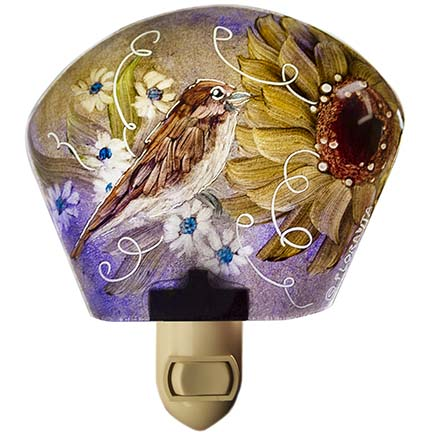 sparrow painted glass