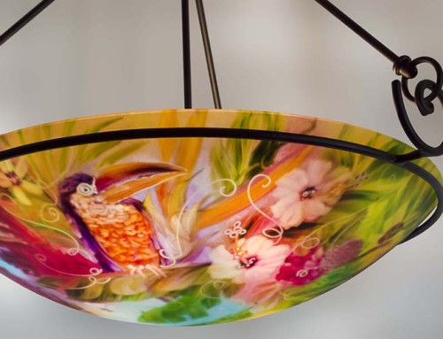 Tropical Toucan and Friends painted chandelier
