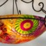 36 inch glass diameter bowl is hand painted in reverse by artist Jenny Floravita. Installation ready with Floravita's Ornate hand forged chandelier fixture. This is a large chandelier.