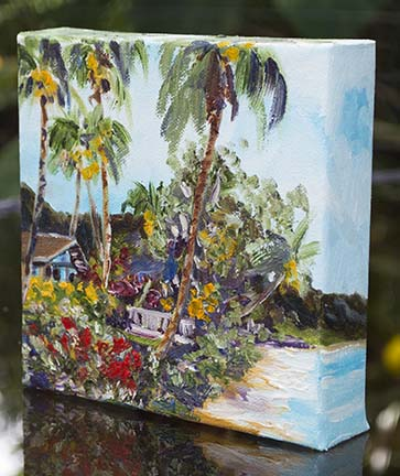 6x6 oil painting on gallery wrapped canvas, tropical Hawaiian oil beach painting by artist Jenny Floravita