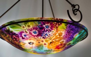 Vineyard Garden in Napa is a 24 inch commissioned reverse hand painted glass chandelier by artist Jenny Floravita.