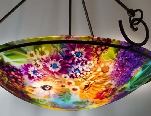 Vineyard Garden in Napa hand painted chandelier