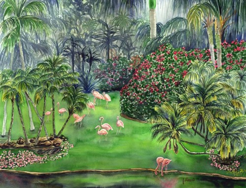 Flamingo Jungle tropical pink flamingo art