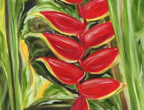 Luscious Dark Red Hawaiian Flower painting