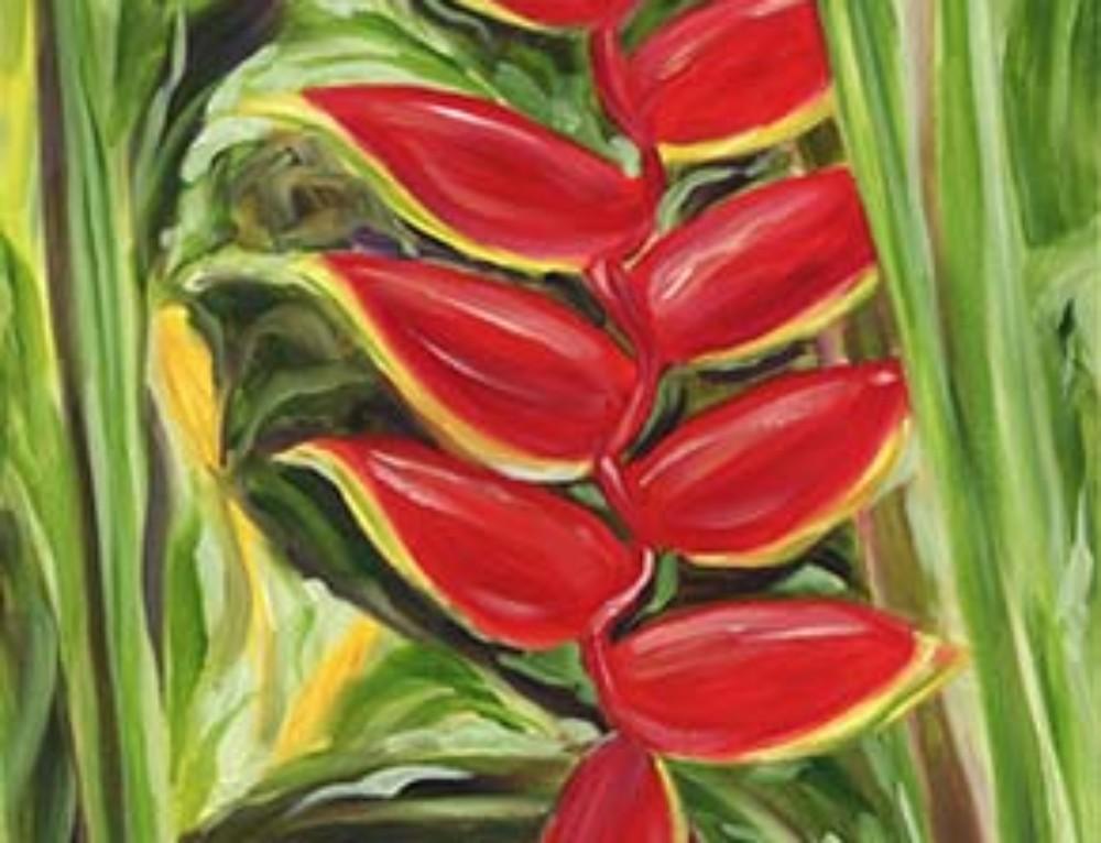 Luscious Dark Red Hawaiian Flower painting
