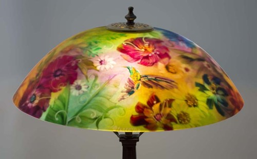 Table lamps floravita reverse hand painted glass chandeliers and garden hummingbird painted lamp shade mozeypictures Images