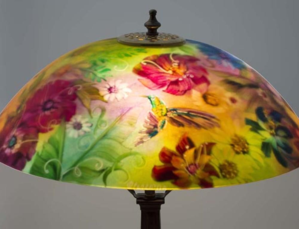 Garden Glory with Hummingbird reverse painted lamp shade