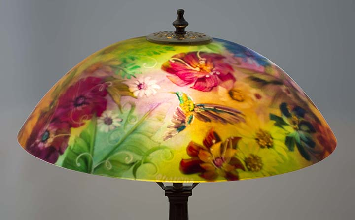 Garden hummingbird painted lamp shade by artist jenny floravita hummingbird painted lamp aloadofball Gallery