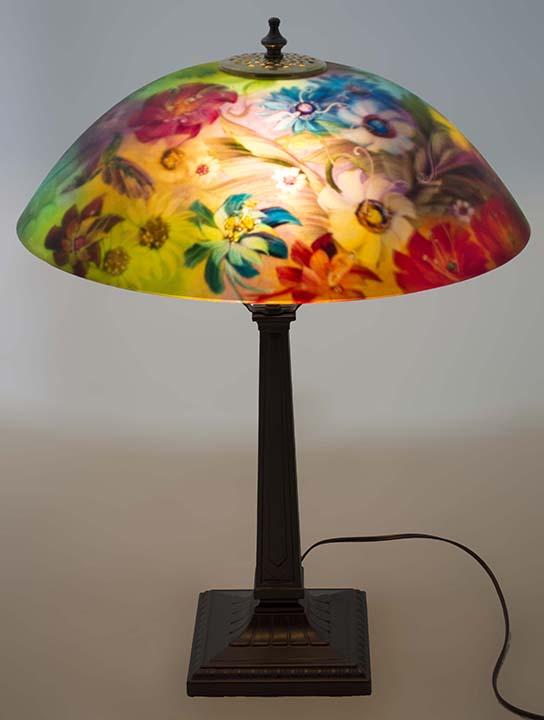 Hummingbird Painted Lamp
