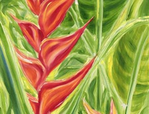 Tropical Hawaiian Flower in Coral painting