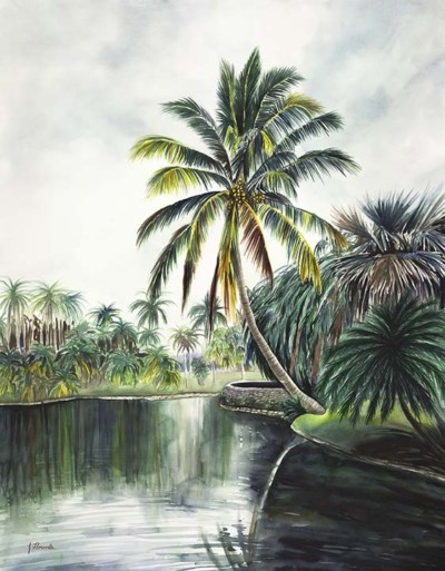 tropical lake painting