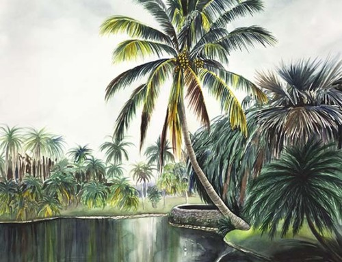 Mood of the Star tropical lake painting
