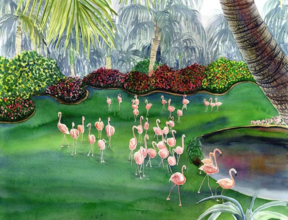 Flamingo Paradise whimsical flamingo art
