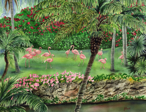 Flamingo Garden pink flamingo painting