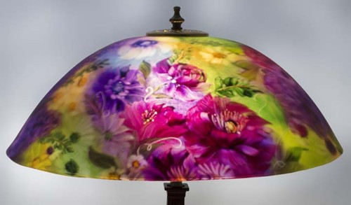 Table lamps floravita reverse hand painted glass chandeliers and garden promise reverse painted lamp mozeypictures Images