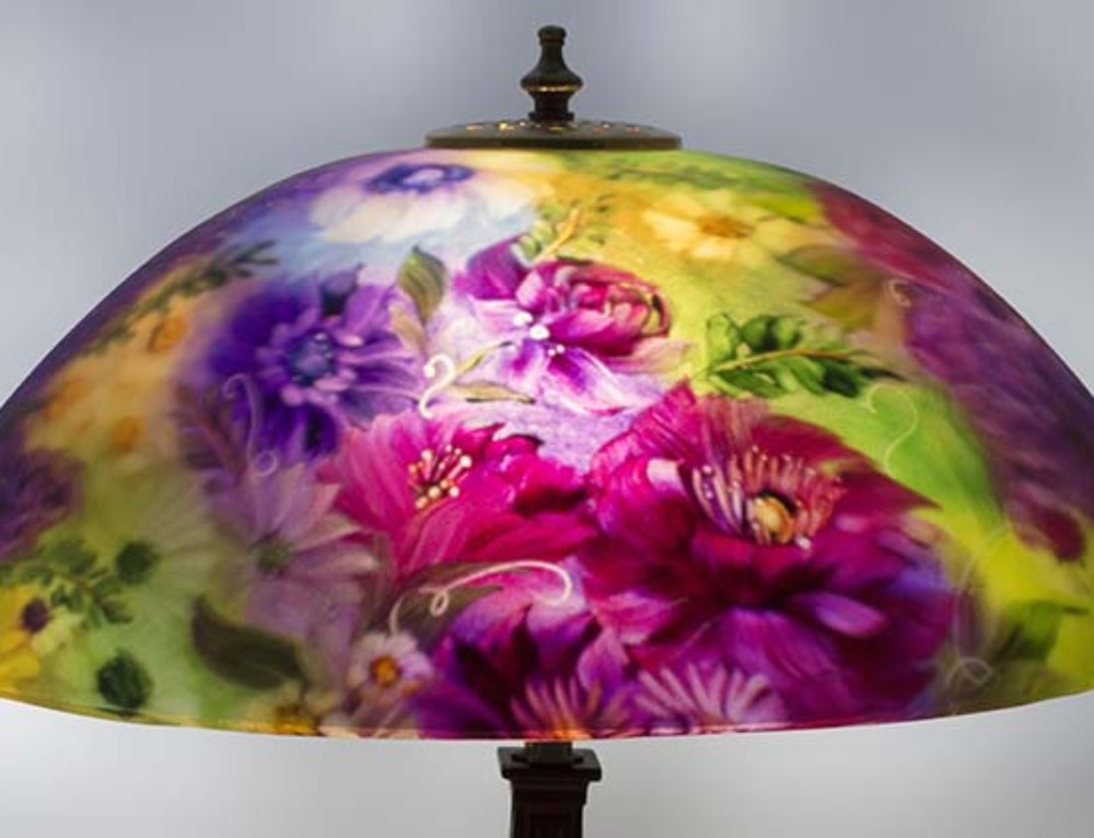 Garden Promise reverse painted lamp shade