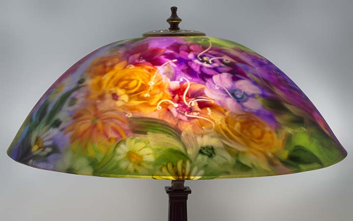 Garden promise reverse painted lamp shade by artist jenny floravita purple flower lamp mozeypictures Choice Image