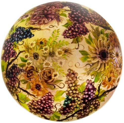 grapes flowers glass art