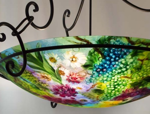33 inch Chardonnay Grape and Flower painted chandelier