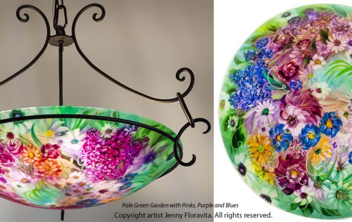 green hand painted chandelier