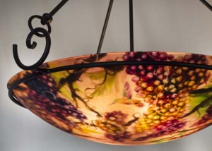 Tuscan autumn vineyard painted chandelier