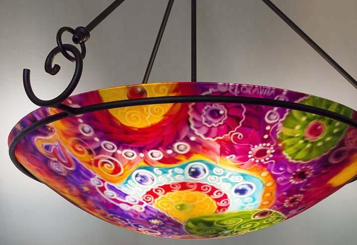 Scottsdale celebration glass art lighting by jenny floravita scottsdale hand painted chandelier aloadofball Images