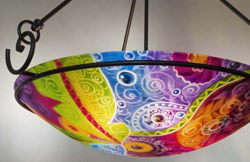abstract palm desert painted chandelier
