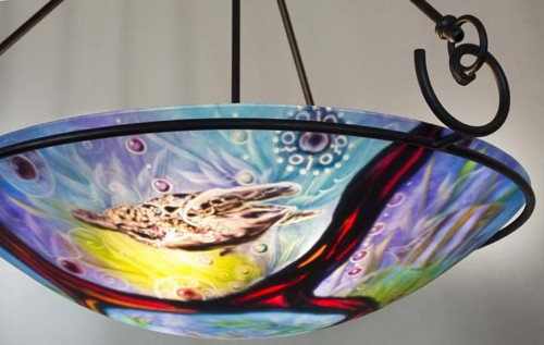 Hawaiian Lava Ocean Turtle Ceiling Light