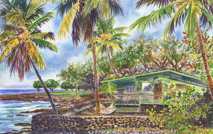 Green Kona Beach House in Hawaii painting