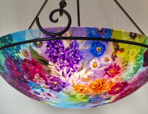 28 inch Decorative Light in Blue and Purple Flowers