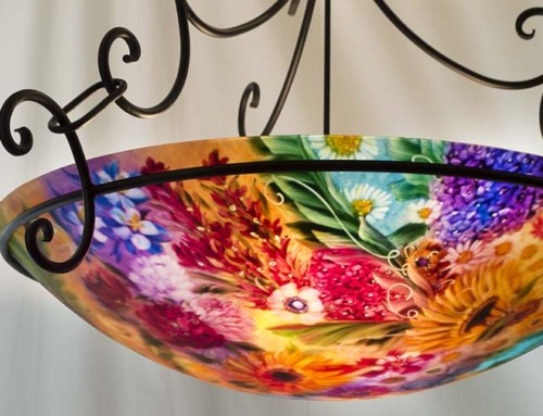 36 inch Durango Colorado Flowers Painted Chandelier