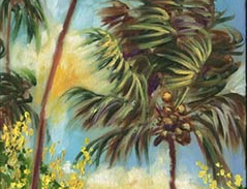 Colorful Blue Hawaiian Plantation House with Red Tin Roof and Swaying Palms Painting