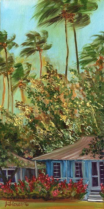 Tropical Plantation Cottage Painting Has Quiet Mood A 10x20 Oil