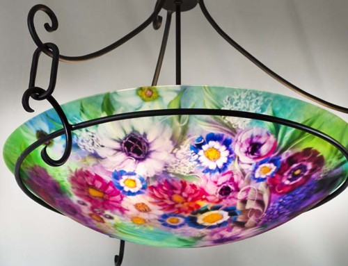 Blue Red and Pink Mixed Flower Pendant Light