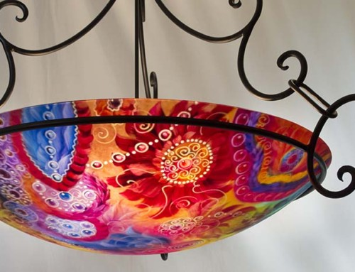 Colorful Santa Fe Painted Chandelier
