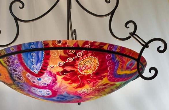 Colorful santa fe painted chandelier decorative lighting by artist colorful santa fe painted chandelier aloadofball Gallery