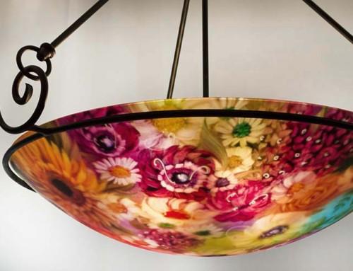 Flowers of Durango reverse painted chandelier