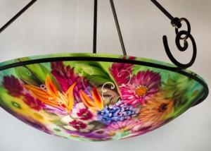 tropical garden reverse painted chandelier